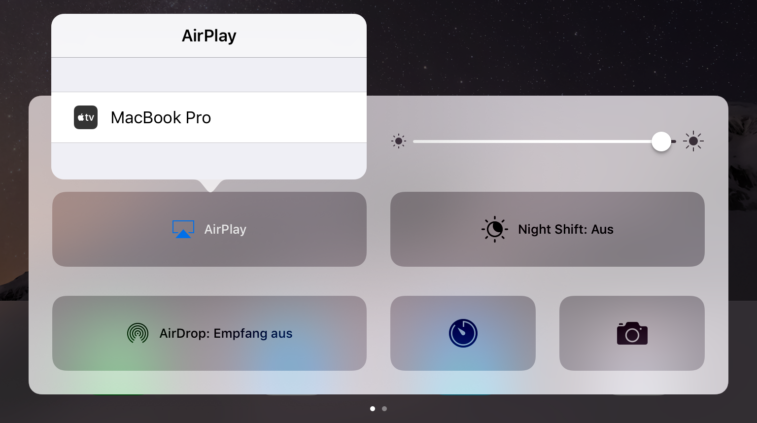 Kontrollzentrum > AirPlay